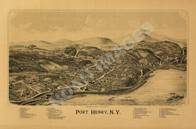 Port Henry New York panorama map c1889 16x24