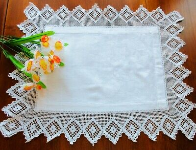 Antique Scottish White Damask Linen Tray Cloth Tablecloth with Handmade Lace 23""