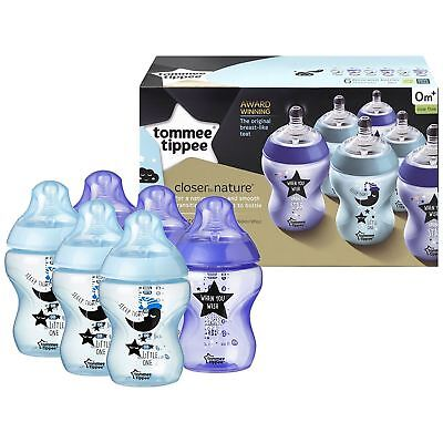 6 x Tommee Tippee Closer to Nature Decorated Baby Bottles 260ml - Blue & Purple