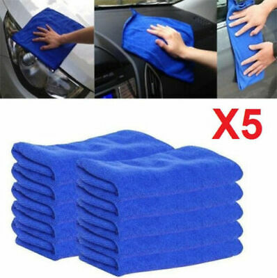 X5 Microfiber Auto Car Dry Polishing Wash Clean Towels Duster Blue Soft Cloths *
