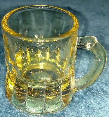 3 Vintage Federal Glass Co mini beer mug shot glasses w/ handles amber + clear