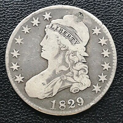 1829 Capped Bust Half Dollar 50c Better Grade Plugged #16938