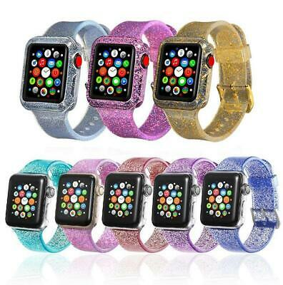 Glitter Bling Sport Band Strap + Protector Cover for Apple Watch iWatch 38/42mm