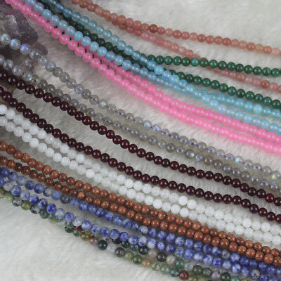 5 Strands Wholesale 4mm Round Natural Gemstone Spacer Loose Beads Strand 15.5""