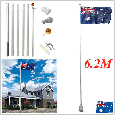 6.2M Aluminium Australian Aussie Flag Pole Telescoping Flagpole Rope Kit Set AU