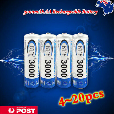 4-20pcs BTY AA Rechargeable Battery Recharge Batteries 1.2V 3000mAh NiMH AU