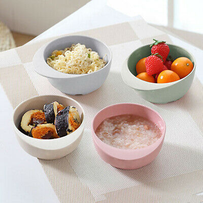 Children Bowls Bamboo Fiber Round Dishes Multicolor Kids Feeding Tableware BS