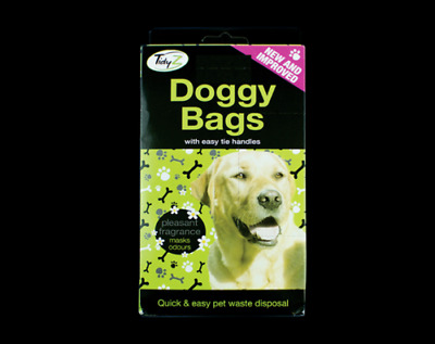 Doggy Poo Bags Scented Dogs Dog Puppy Waste Poop Disposal Easy Tie Handle