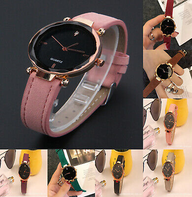 Womens Lady Crystal Fashion Watch Analog Leather Band Quartz  Wristwatch Casual