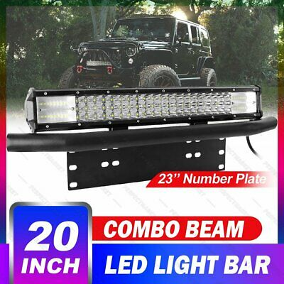 20 inch CREE LED Light Bar Offroad + 23'' Number Plate Frame Bracket Front Black