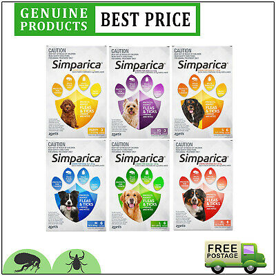 SIMPARICA All Sizes 6 Doses Chewable for Dogs Tick and Flea Treatment by Zoetis