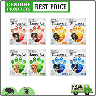 SIMPARICA Flea and Tick Treatment for Dogs All Sizes 12 Doses Chewable by Zoetis