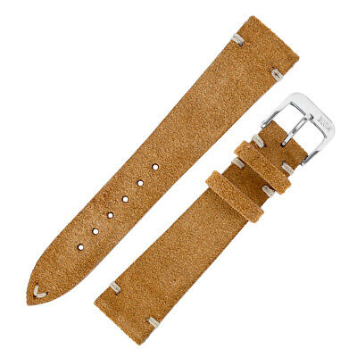 Rios1931 HUDSON Genuine Suede Leather Watch Strap in COGNAC