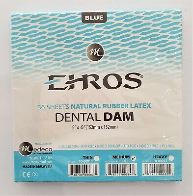 "Dental Natural Rubber Dam Blue Medium 6"" X 6""  Pack of 36 Sheets Latex 