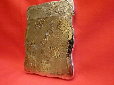 Superb 1904 Solid Silver Card Case.beautiful Engine Turned & Chased Decoration.