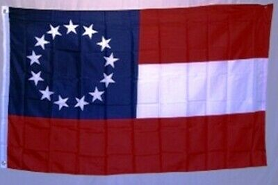 13 Star 1st National Stars and Bars 3x5 ft Confederate Flag 1861 Print Polyester