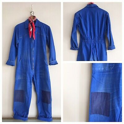 Vintage 1960s French Cotton Chore Workwear Overalls Coveralls Boiler Suit M
