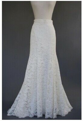 2fc8279ff071 Monique Lhuillier Ivory Cotton Blend Alencon Silk Lace Wedding Skirt Size 6