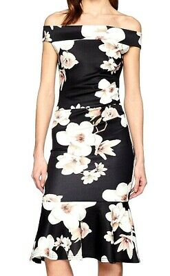 3f906794a0f9 New Women's Quiz Double Frill Floral Bardot Dress Size UK 10 12 14 16 RRP£