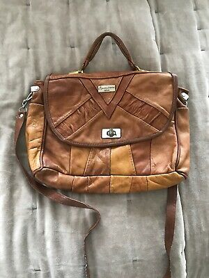 Brown Tan Retro Leather Vintage Purse Handbag