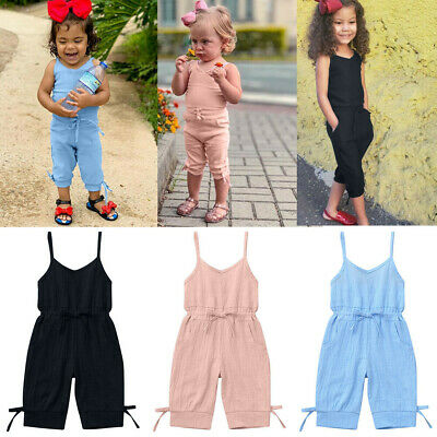 Kids Girls Child Summer Sleeveless Jumpsuits Lacing Casual Climbing Romper Pink