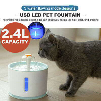 LED Automatic Electric Pet Water Fountain Dog/Cat Drinking Bowl Waterfall Drink