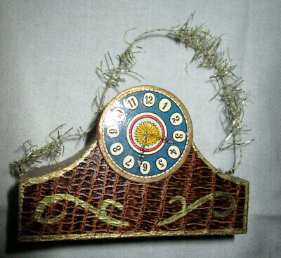 Antique Christmas tree ornament -candy container -clock-  tinsel  Germany