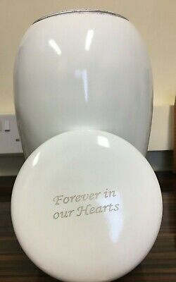Large White Forever In Our Hearts Urn.Suitable For Human/Pet Ashes - 10