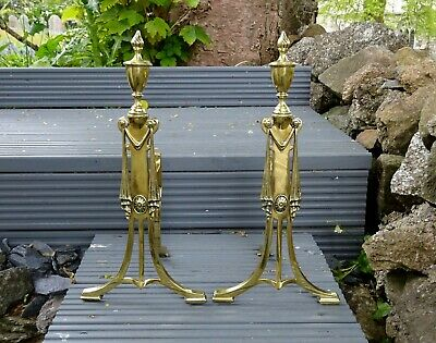 Pair antique William Tonks & Sons brass fire dogs, c 1906. Adam style andirons
