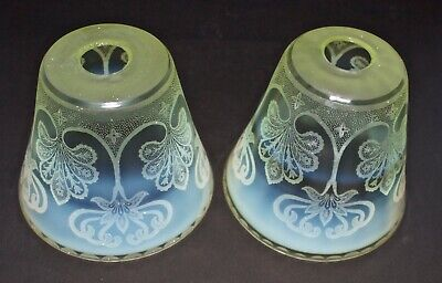Rare Matching Pair Of Etched Arts And Crafts Vaseline Shades