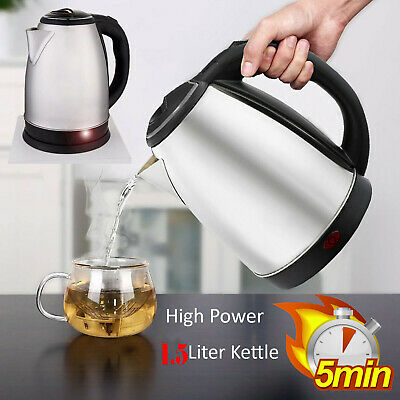 Stainless Steel 1.5L Litre Cordless Fast Boil Electric Indicator Light Kettle Ju
