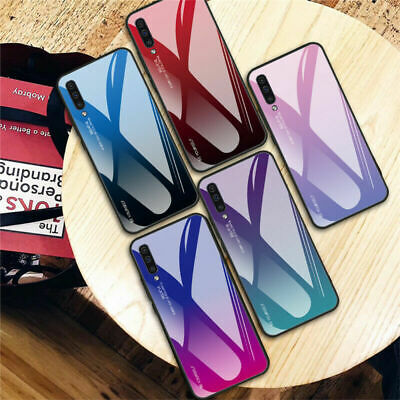 For Samsung Galaxy A70 A50 A40 A10 Gradient Tempered Glass Hard Back Case Cover