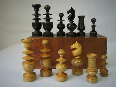 ANTIQUE FRENCH CHESS SET REGENCE' PATTERN  K 82 mm AND ORIG  BOX NO BOARD