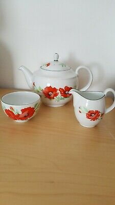 Royal Worcester POPPIES Teapot Milk Jug & Sugar Bowl Set