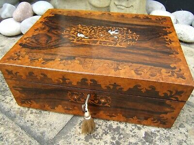 Wonderful 19c Large Victorian Inlaid Antique Jewellery Box Decorative Arts Fab Interior Boxes