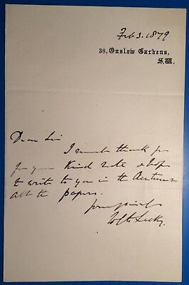 W E H Lecky of Dublin - wrote History of England in 18th century -1879 letter