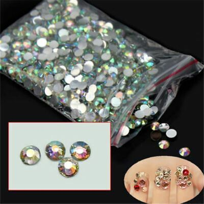 1000Pcs 3D Nail Art Multi Size Flat Glitter Rhinestones Crystal  Decoration UK