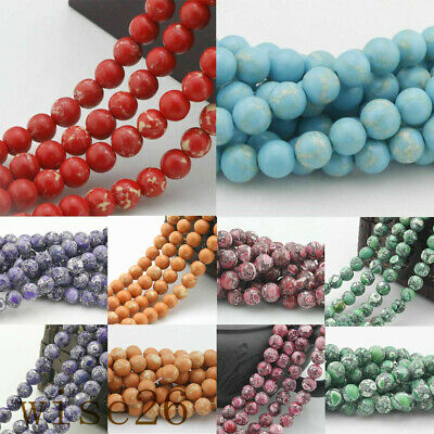 "Loose Spacer Turquoise Round Beads 15"" Gemstone Natural 4/6/8/10/12/14mm"