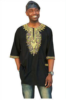 Traditional African Dashiki Shirt with Golden yellow embroidery S to 7XL
