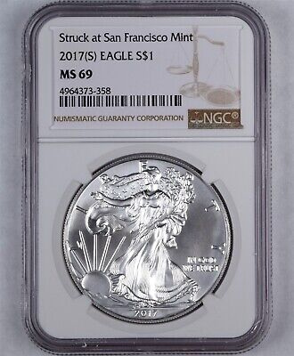 2017 (S) $1 American Silver Eagle Struck At San Francisco Mint Ngc Ms69 Low Pop
