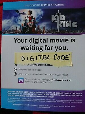 The Kid Who Would Be King Digital Only Will Message Code After Payment Received