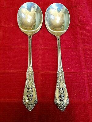 """Auction Is For One Wallace Rose Point 5 7/8"""" Sterling Cream Soup Spoon 2 Avail."""