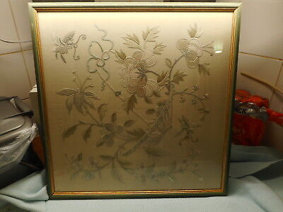 Ref 001 Beautiful Framed  Chinese Floral  Embroidery With Butterflies