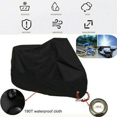 1x XL Motorcycle Cover Motor Bike Summer Waterproof UV Dust Protector+Lock Hole
