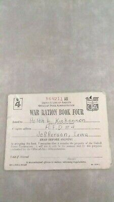 War Time Ration Book Four 1943 With 2 Full and 5 Partial Stamps Pages