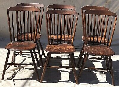 Set Of 6 Pine Thumb Back Country Primitive Antique Windsor Chairs