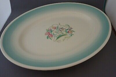 Vintage Susie Cooper Dresden Green Turquoise Band Oval Serving Platter 14""