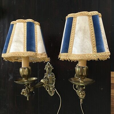 VINTAGE ANTIQUE BRASS WALL MOUNT SCONCE PAIR ~ rewired