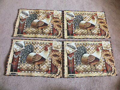Collectible Place Mat Set 4 Beige Black Browns White Burgundy Chickens Sunflower