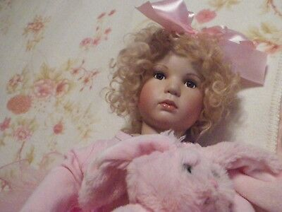 """GORGEOUS Artist Made Porcelain Doll 20"""" Tall Beautiful Curly Mohair Wig"""